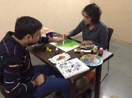 Mohit painting with renowned artist Ami Patel